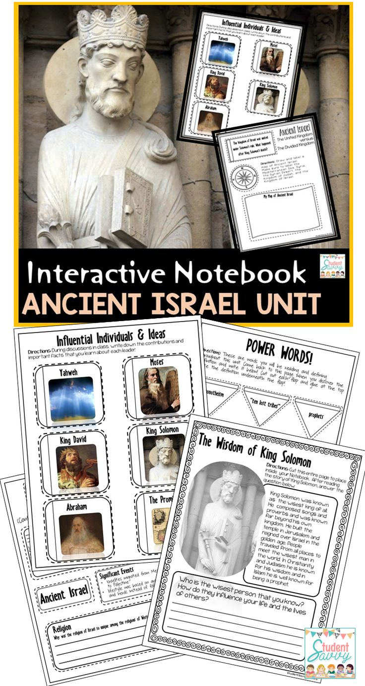 Israel: Ancient Israel Unit for Interactive Social Studies Notebook! 6th Grade Ancient Civilizations Series Answer Key Included!! This resource is designed for an Ancient Israel unit.