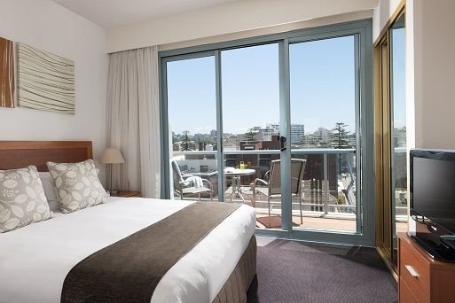Our Deluxe Studio Queen rooms are contemporary and stylish. Each room features a queen bed, a lounge area work desk, air conditioning and a large furnished balcony with view over the Manly district.