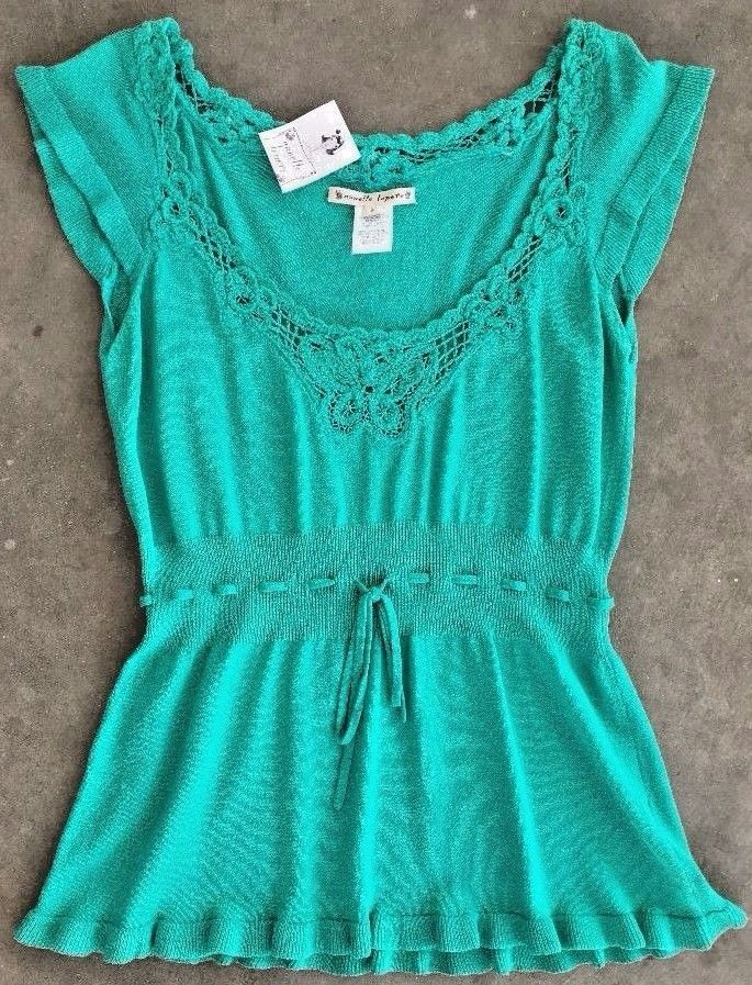 NWT NANETTE LEPORE Teal Top Butterfly Crochet Gathered Waist Cap Sleeve Size S #NanetteLepore #KnitTop