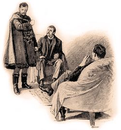 The Count Von Kramm takes of his masks in front of Holmes and Dr Watson. This Sidney Paget illustration appeared originally in The Strand Magazine where A Scandal in Bohemia was published for the first time.
