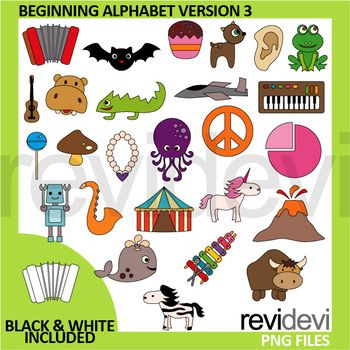 Beginning alphabet clipart. A complete collection from A to Z. A great pack for teaching English to kids! A great commercial use clipart collection for pre-K, K, and first grade. Teacher resource to make materials for ELA projects. Black and white version is also included.This clip art set can be purchased in a BUNDLE at a DISCOUNTED PRICE.