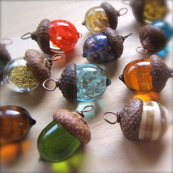 Use glass beads and top with acorn cap.  ****** I would make these as ornaments, the colored glass would look beautiful on a lit tree, garland or wreath ....