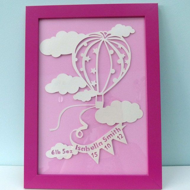 New baby girl personalised paper cut hot air balloon gift christening