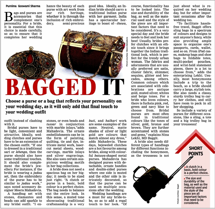 We are extremely thrilled to be featured in the Times Of India as one of India's leading accessory and handbag brands with a special range this November.