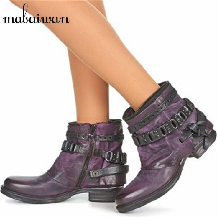 Fashion Purple Handmade Punk Style Women Ankle Boots Genuien Leather Autumn Booties Martin Boot Women Flat Botas Militares #Affiliate
