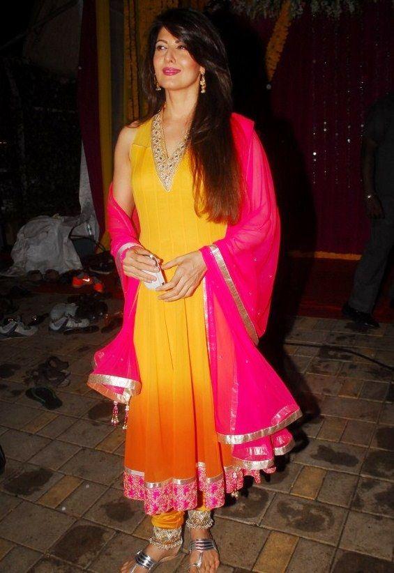 Sangeeta Bijlani in Yellow and Pink Anarkali Salwar Kameez by Anita Dongre