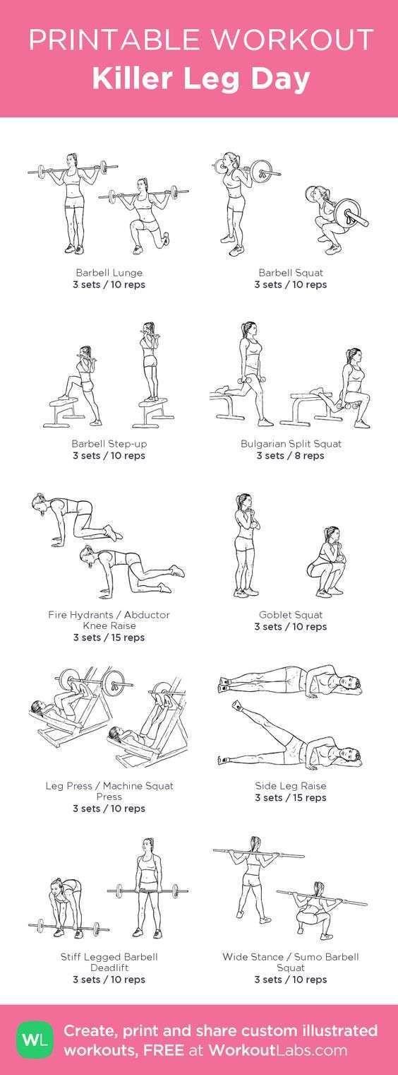 Rutinas de gimnasio para imprimir – Rutina imprimible de piernas para el gym – Exercise