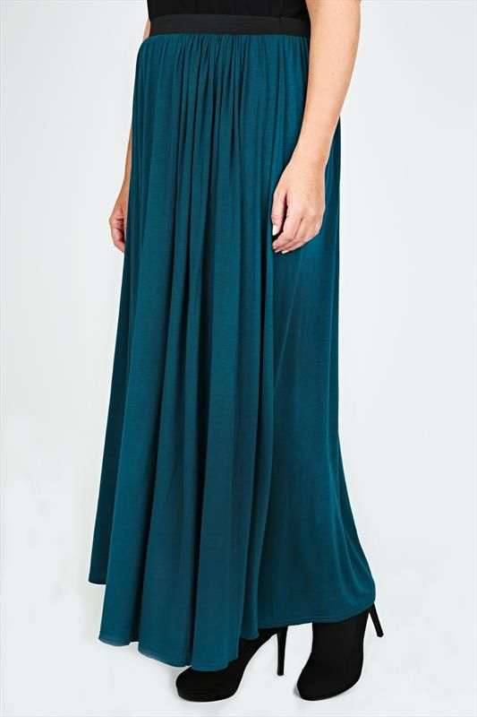 Teal Maxi Skirt With Elasticated Waistband plus size 14,16,18,20,22,24,26,28,30,32