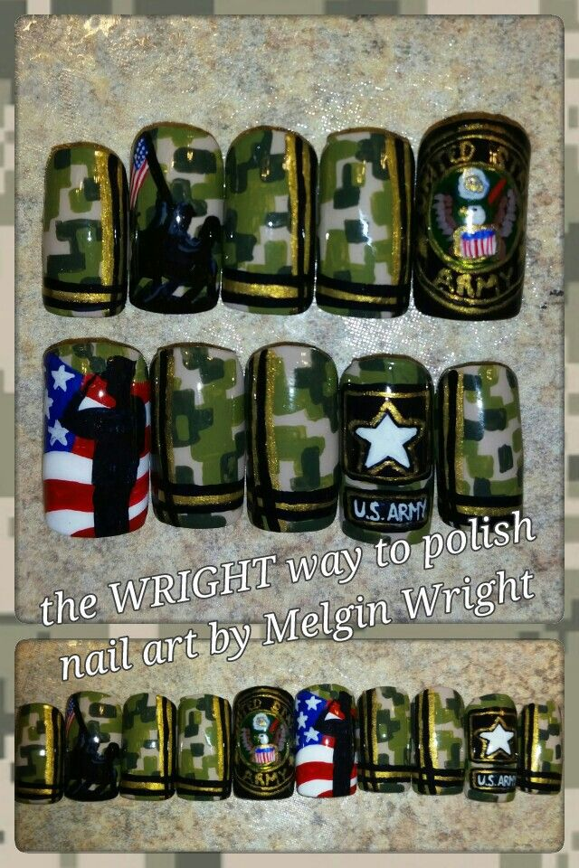 U.S Army nail art! Hand painted nail art. Painted with Nail polish and acrylic paint by Melgin Wright  http://www.facebook.com/TheWrightWayToPolishNailArtByMelginWright  http://pinterest.com/melginswright/boards/