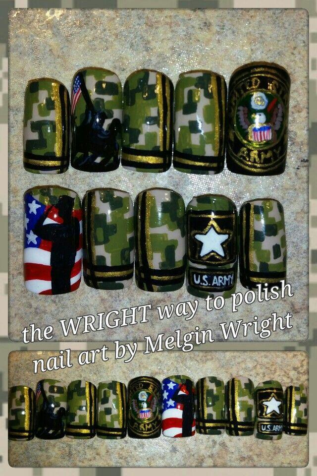 U.S Army nail art! Hand painted nail art. Painted with Nail polish and acrylic paint by Melgin Wright  http://www.facebook.com/TheWrightWayToPolishNailArtByMelginWright  http://pinterest.com/melginswright/boards/