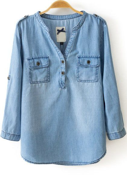 Blue V Neck Long Sleeve Pockets Denim Blouse - abaday.com