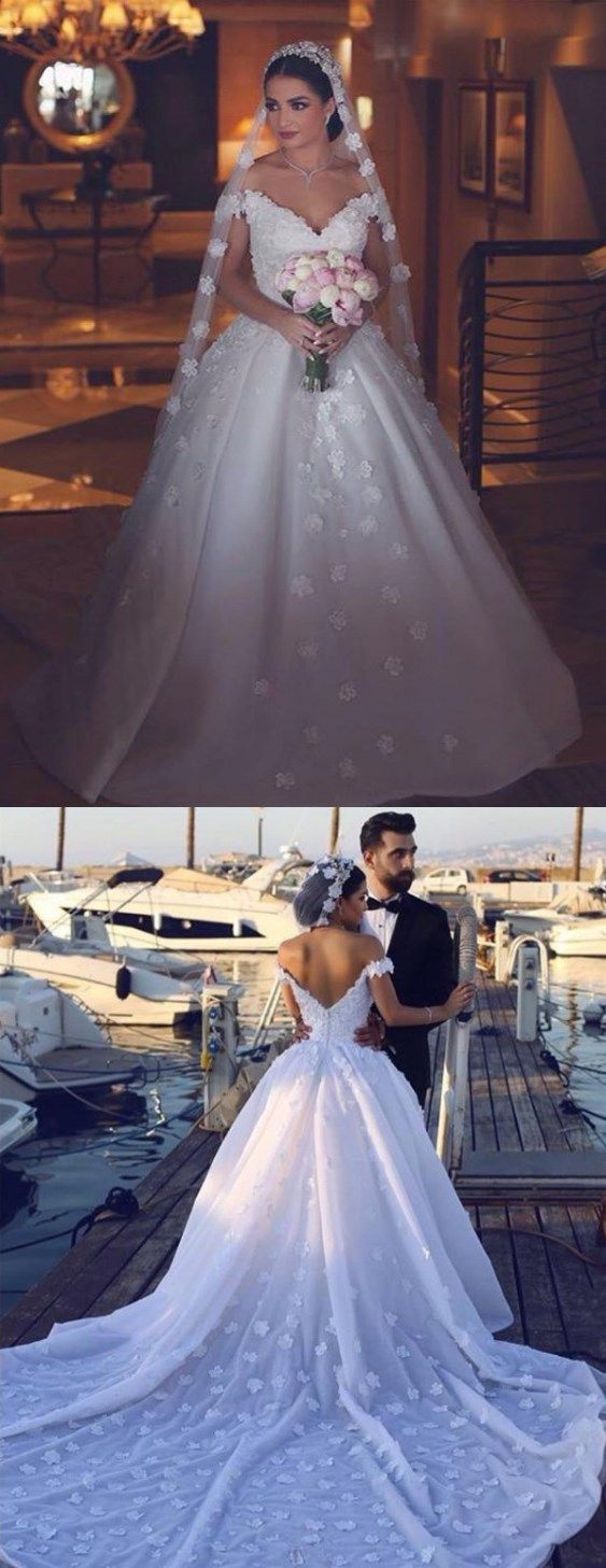 Lace wedding dress open back say yes dress october 2018 Ball Gown Wedding Dresses Offtheshoulder Long Train HandMade