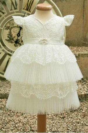 """Christening dress with exquisite features, perfect for other special events too: """"Odette"""". Silk lace, pleated tulle and precious accessories... What else would your little girl want?!"""