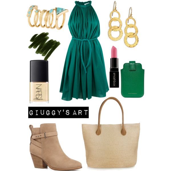 Green Country by giuggysart on Polyvore featuring polyvore, moda, style, Apiece Apart, Witchery, Gurhan, H&M, Smythson, Lancôme, Smashbox, NARS Cosmetics and country