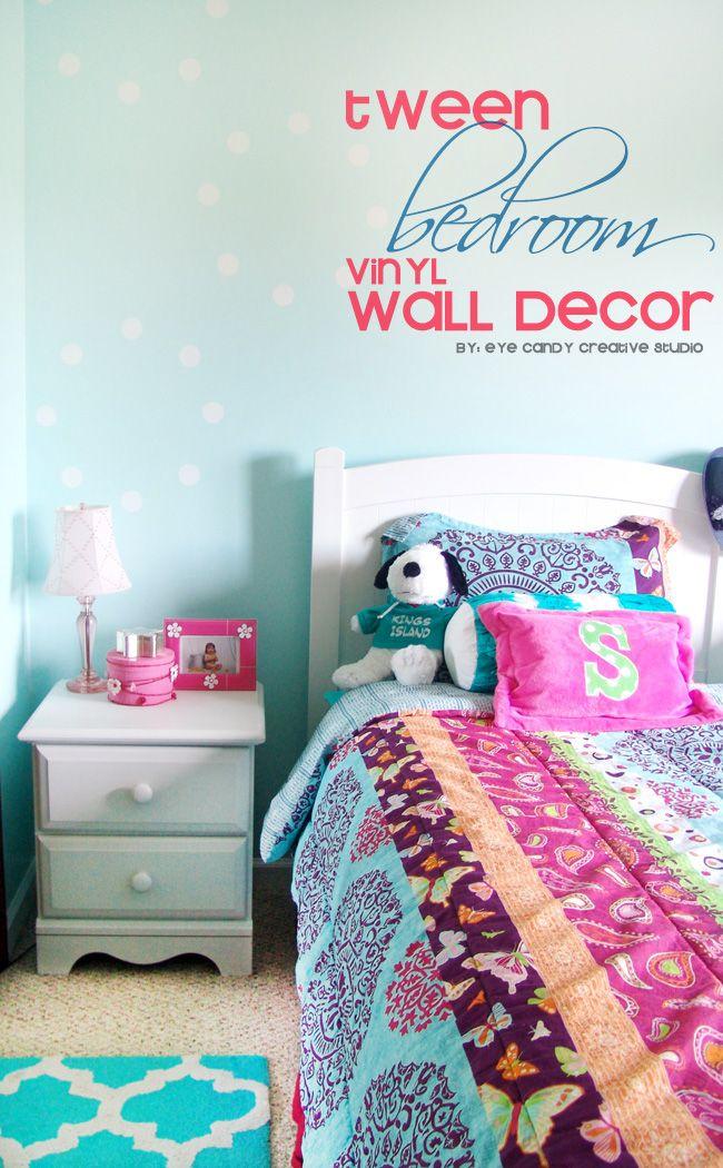 Tween bedroom wall decor ideas using vinyl so cute for Candy bedroom ideas