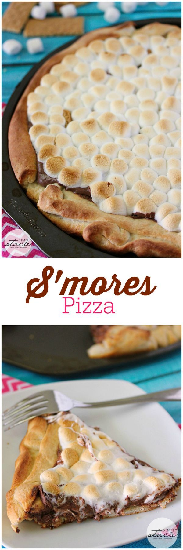 S'mores Pizza - sticky, sweet pizza heaven! Covered in rich chocolate and then topped with melted marshmallows for an out-of-this-world dessert!