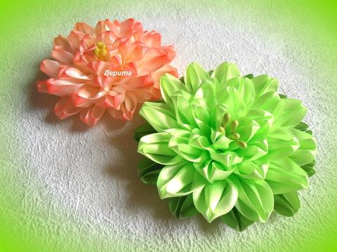 Ободок канзаши, розы Мк - YouTube