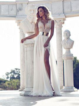 Vestido de noiva Cortar na frente Sem Mangas Gola em V Renda