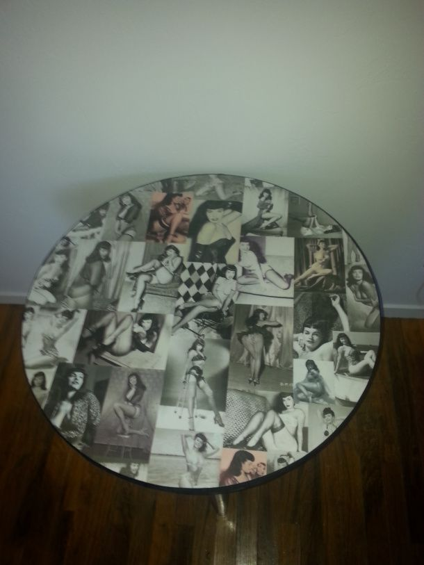 DIY mod podged Bettie Page table