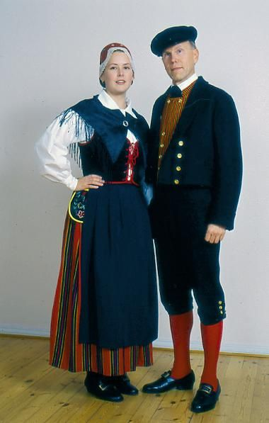 Europe | Portrait of a couple wearing traditional clothes, Lohja, Uusimaa…