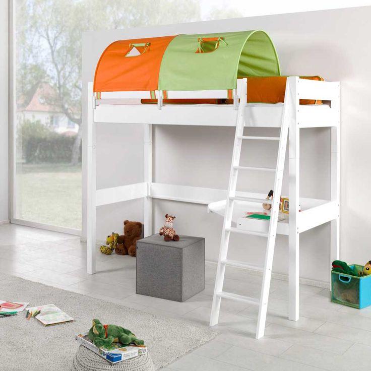 spiel hochbett mit tunnel und schreibtisch orange gr n. Black Bedroom Furniture Sets. Home Design Ideas