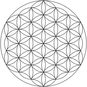 "Small, clear image of the most common form of the ""Flower of Life"" hexagonal pattern (where the center of each circle is on the circumference of six surrounding circles of the same diameter), made up of 19 complete circles and 36 partial circular arcs, enclosed by a large circle."