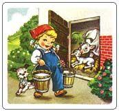Mucca bianca, mi vuoi dare il tuo latte per la torta? - Sì, però non lo sciupare… - Ma che dici! Sono accorta e non sciupo i miei quattrini: uso buste Bertolini!