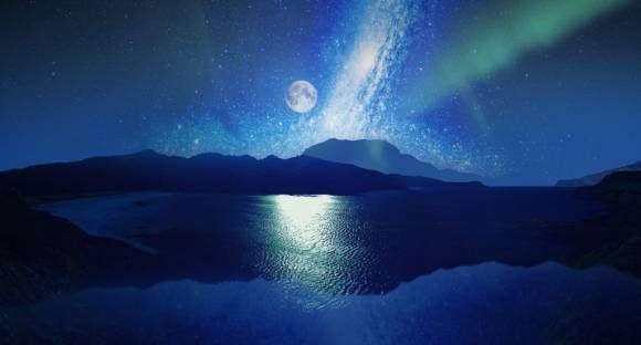 満月とオーロラ 満天の星と海の運気をあげる 願いが叶う待ち受け画像 画像 壁紙 待ち受け画像 幻想的なイラスト