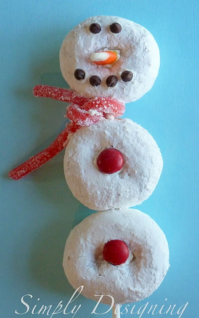 Snowman Pop - cute and simple, edible, craft.  Great kids food/craft idea using mini donuts