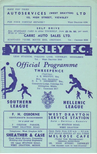 Away Vs Yiewsley FC 1958 .   Yiewsley FC became the original Hillingdon Borough in 1964.