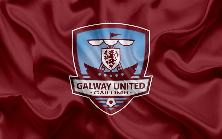 Download wallpapers Galway United FC, 4K, Irish Football Club, logo, emblem, League of Ireland, Premier Division, football, Galway, Ireland, silk flag, Irish Football Championship
