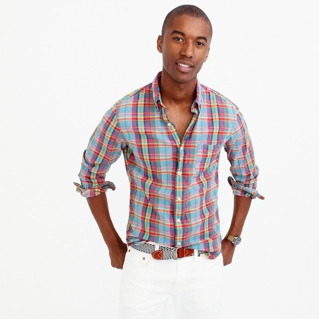 Slim Indian madras shirt in multicolor plaid-Casual wear, street style for men. JCrew plaid shirts