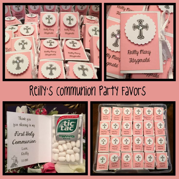 "First Communion Bible Tic Tac Party Favors-- white cardstock measures 3 x 4 3/4, Pink Card stock measures 2 3/4 x 4 1/2. Layer two colors, sandwiching a 15"" piece of ribbon - glue. Score through both layers at 2"" and 2 3/4"". Attach Tic Tacs with double faced tape to back of ""book"" - fold on score lines and tie ribbon. Decorate front as desired. (I made a template in MSWord and typed name and message prior to cutting cardstock.)"