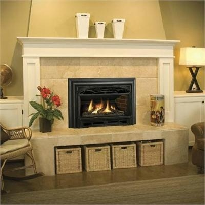 Like fireplace insert surrounded by tile with white