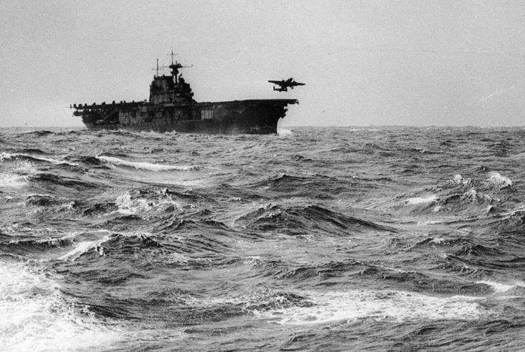 USS Hornet and a B-25 launching to Japan fir Jimmy Doolittles raid