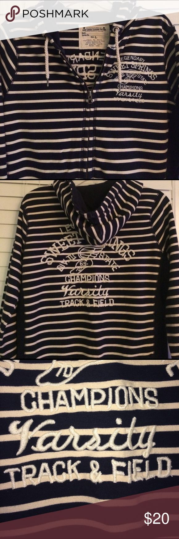 Lucky 🍀 Hoodie Navy and Cream-colored striped Zip Up Hoodie. Embroidered Track & Field logo. Front pockets. Great condition! Lucky Brand Tops Sweatshirts & Hoodies