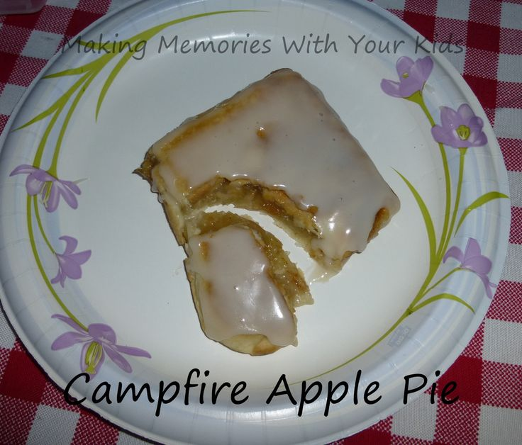 campfire apple pudgy pie; pie crust, filling, icing!