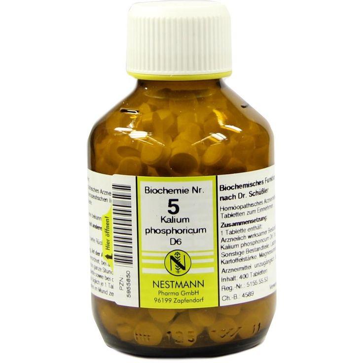 BIOCHEMIE 5 Kalium phosphoricum D 6 Tabletten:   Packungsinhalt: 400 St Tabletten PZN: 05955850 Hersteller: NESTMANN Pharma GmbH Preis:…