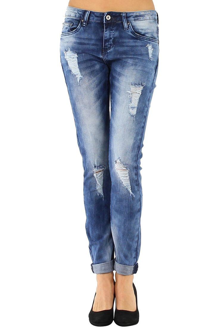 Jeans de Mujer slim ajustado al cuerpo y bajo doblado con desgastados y rotos de actualidad Condición:  Nuevo Composición 98% algodón, 2% elastano Categoría Jeans  Paquetes 10 unidades  Los paquetes de cada color Tamaño : XS, S, M, L, XL De color Azul Jeasn y Azul Jeans claro  mayoristas de ropa pantalones vaqueros al por mayor: http://intueriecommerce.com/es/