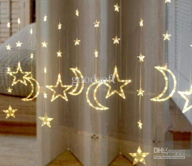 Wholesale Curtain Light - Buy Warm White LED Moon Stars Lights Curtain Light String LED Light String, $54.65 | DHgate