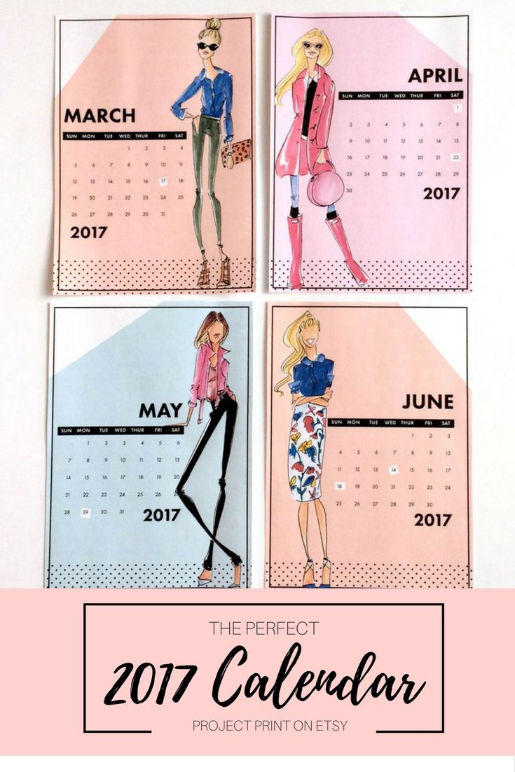 Calendar, fashion calendar, fashion illustration, chic calendar, desk calendar, unique calendar, office decor, office wall art, cubicle decor, cube decor