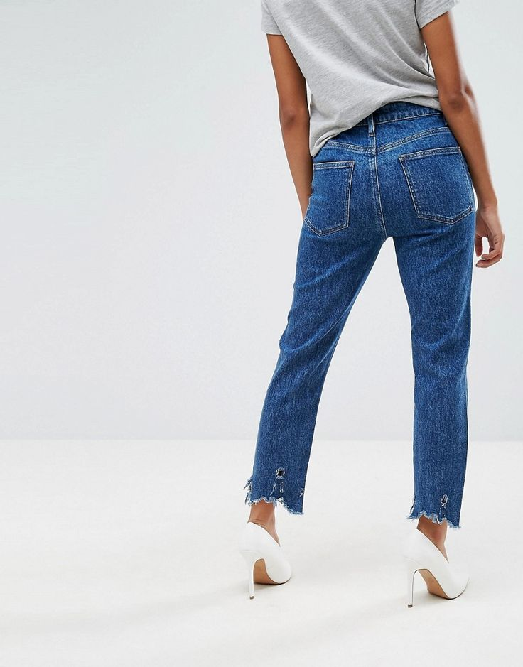 ASOS PETITE FARLEIGH High Waist Slim Mom Jeans in Hazel Soft Acid Wash