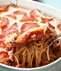 Pepperoni Pizza Spaghetti Casserole. It's a cross between a pasta casserole dish and a pepperoni pizza. Kid-friendly? I think so!