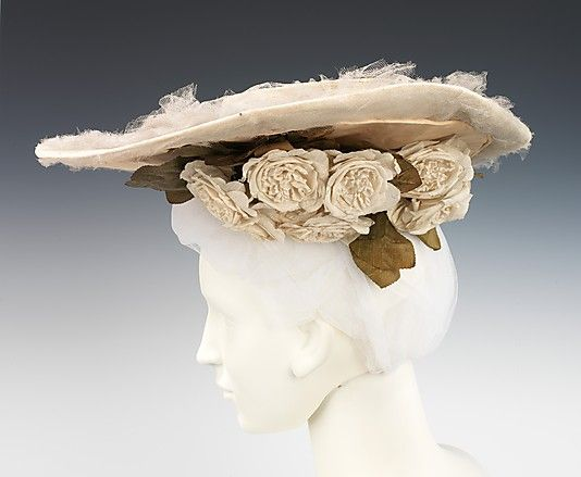 Hat  Madame Virot   Date: ca. 1902 Culture: French Medium: silk, linen Dimensions: 7 x 17 in. (17.8 x 43.2 cm): 1902 Hats, Hats 1902, Madame Virot, Costume, Vintage Hats, 1900 S, Brooklyn Museums, Latest Trends, Metropolitan Museums