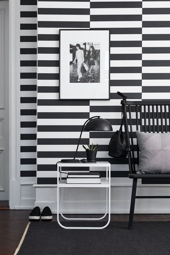 ECO Black & White.  Stripe Horizontal is a broad horizontal stripe with a playful and bold look. This pattern is a good looking backdrop for art and other wall decorations.