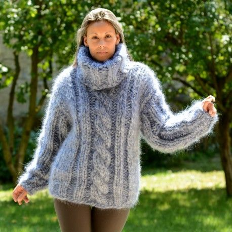 Heavy weight 10 strands chunky hand knitted mohair sweater turtleneck light gray color by Extravagantza