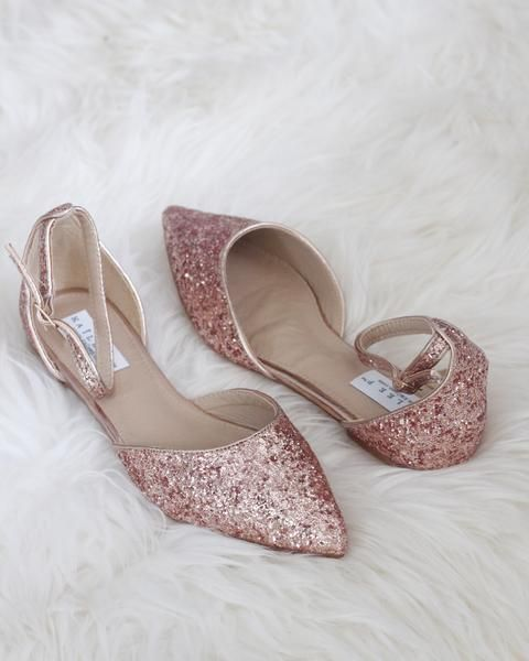 f2374cc2d4e4 Rose Gold Rock Glitter Ankle Strap Flats with Organza Bow - Women Shoes