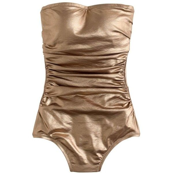 J.Crew Metallic Gold Bandeau One-Piece Swimsuit ($96) ❤ liked on Polyvore featuring swimwear, one-piece swimsuits, halter top, halter swimsuit, j crew bathing suits, halter one piece swimsuit and 1 piece swimsuit