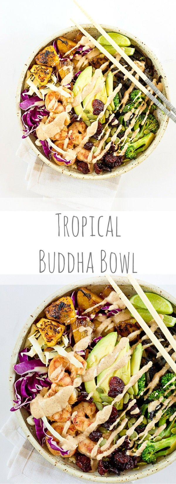 This Tropical Buddha Bowl is infused with island flavor from the Coconut Brown Rice to the Almond Butter Lime dressing. Perfectly grilled shrimp, pineapple, tart cherries, and a bowl full of veggies! It's great for meal prep.