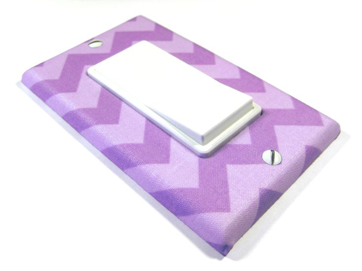 Purple Chevron pattern in the Decora style of cover. Dimmer / Rocker Switch Plate